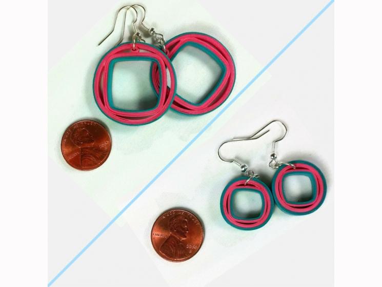 handmade earrings, paper gift. gift of paper, paper anniversary, 1st anniversary
