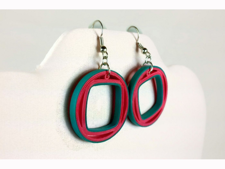 turquoise and coral earrings, coral and turquoise earrings, summer earrings