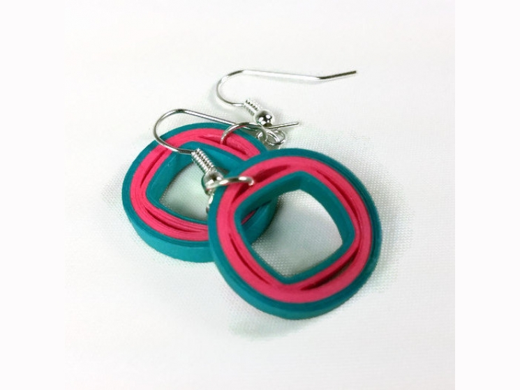 paper quilling jewelry, ecofriendly earrings, eco chic earrings, fashion jewelry
