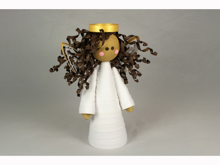 handmade angel tree topper, handmade angel ornament, handmade angel, brown angel