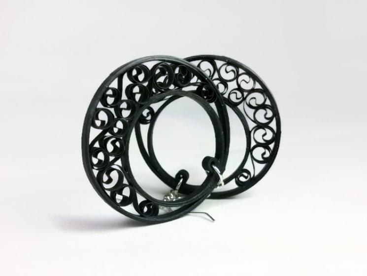 black filigree earrings, half moon hoops, black earrings, black hoop earrings