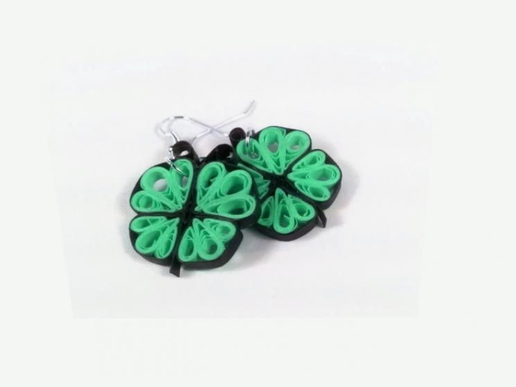 green butterfly, paper filigree jewelry, handmade earrings, eco chic earrings
