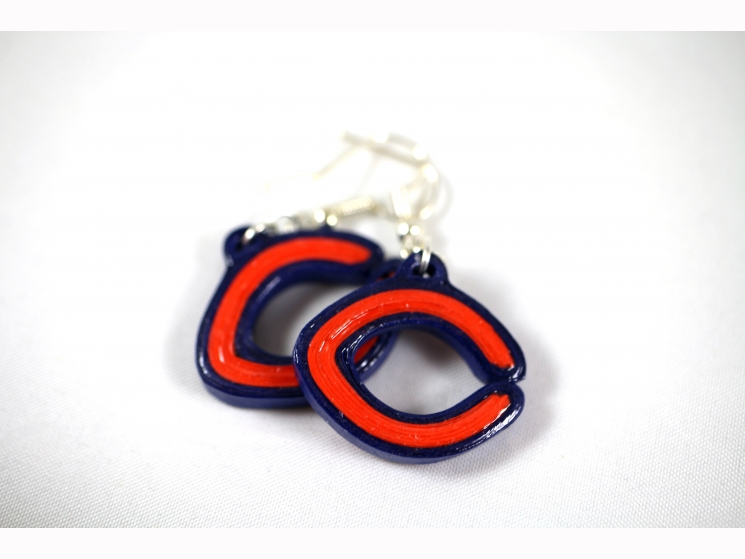 Chicago Bears jewelry, Chicago Bears earrings, bears jewelry, navy and orange