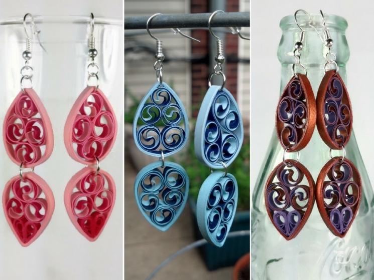 double teardrop earrings, paper filigree earrings, pink filigree, blue filigree