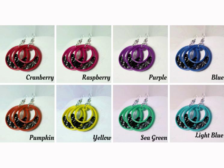 crescent moon earrings, paper quilled earrings, black filigree earrings