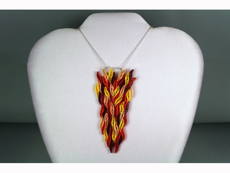 fire necklace, flame necklace, paper quill fire necklace, fire pendant, eco chic