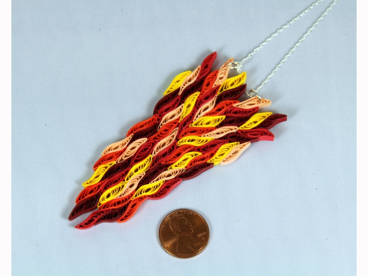 paper flame, paper quilled jewelry, paper quilled necklace, paper necklace