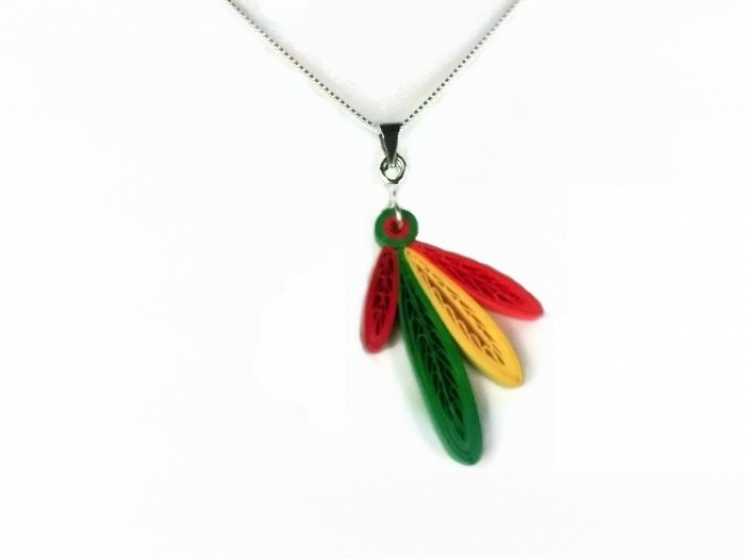 four feathers, Chicago Blackhawks necklace, hawks necklace, hawks four feathers