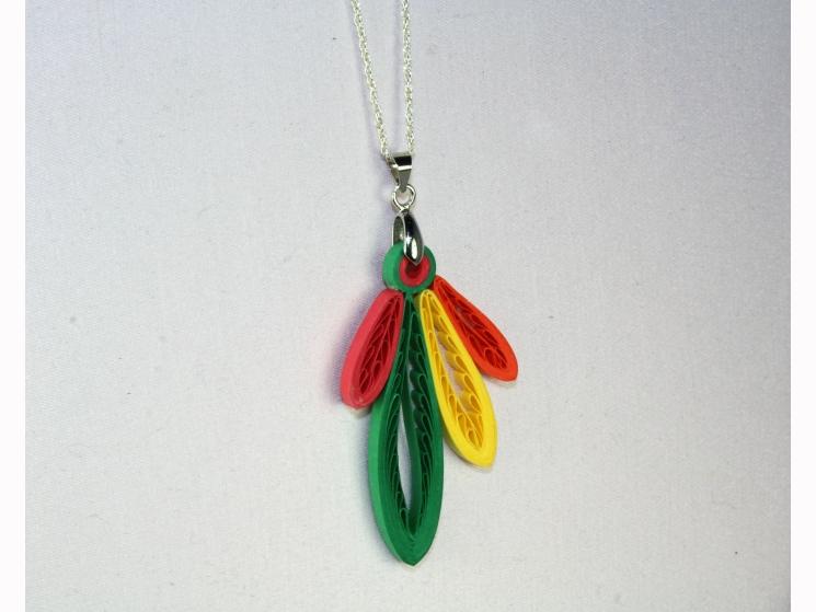 quilling feathers, paper feathers, Chicago gift, hawks fan, blackhawks fan