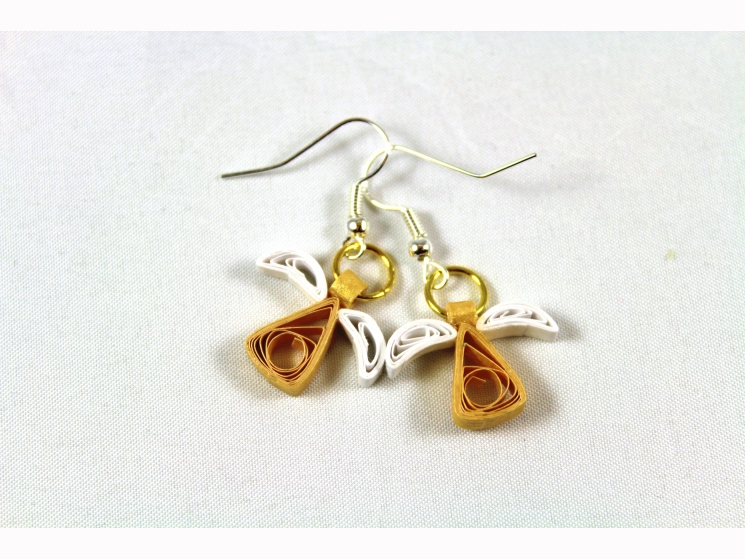 quilled angel earrings, handmade jewelry, handmade earrings, handmade angel