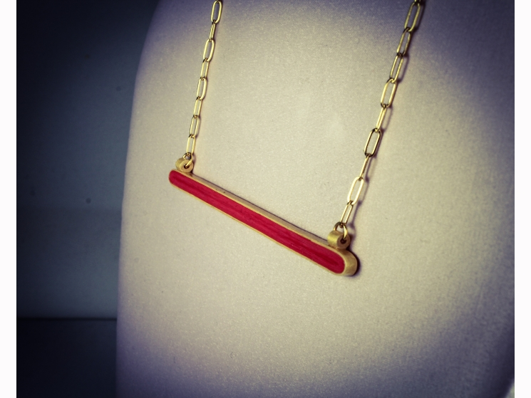 horizontal bar necklace, gold horizontal bar, gold and red, red and gold