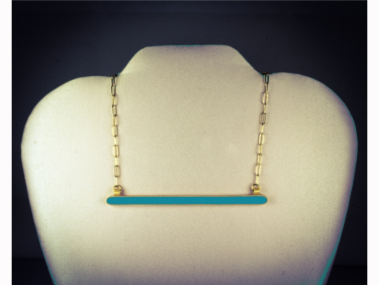 turquoise and gold, turquoise horizontal bar, turquoise bar necklace, oceanside