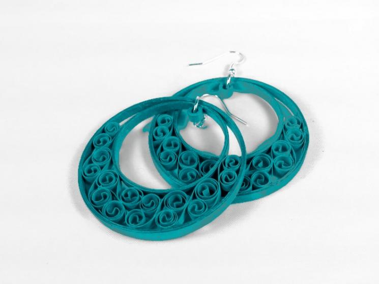 paper earrings, eco-friendly earrings, green hoop earrings, turquoise hoops