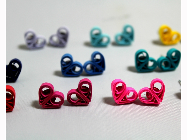 little heart stud earrings, heart studs, heart earrings, heart stud earrings
