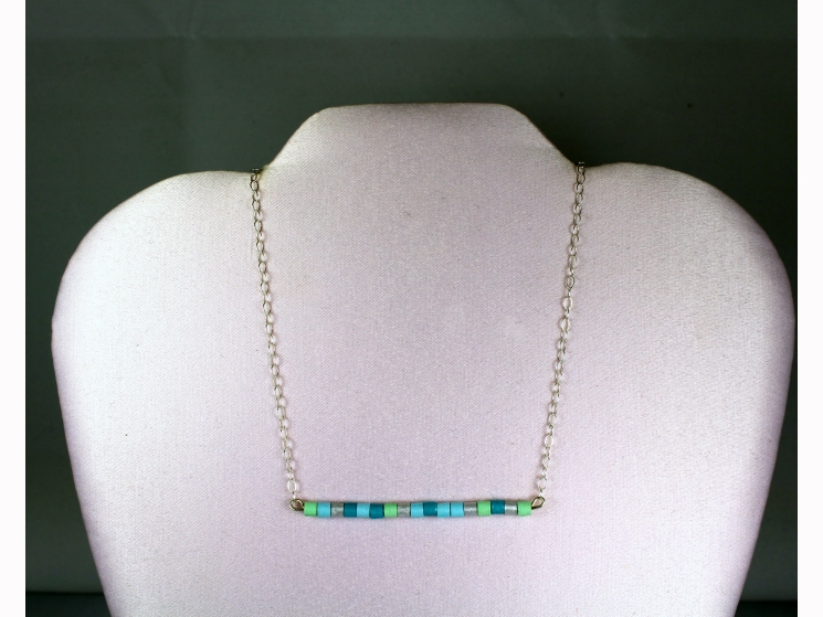 horizontal bar necklace, bar necklace, long bar necklace, skinny bar necklace
