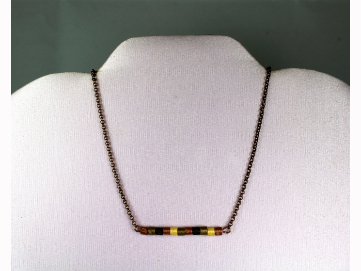 horizontal bar necklace, layering necklace, minimal necklace, copper beads