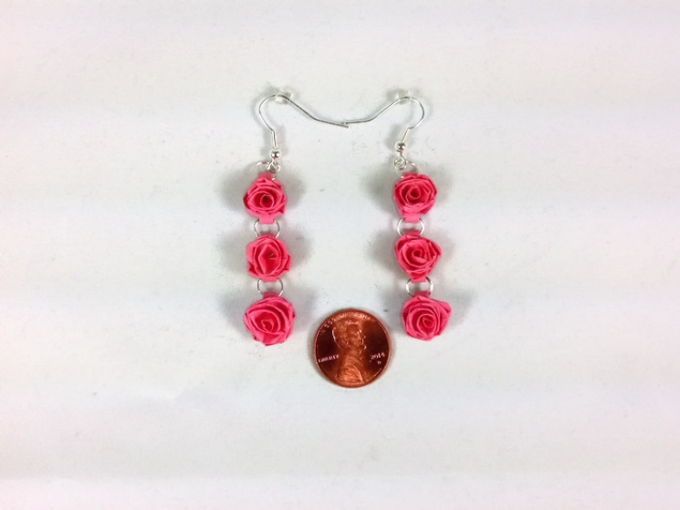 bridesmaid earrings, bridal earrings, lightweight earrings, handmade roses