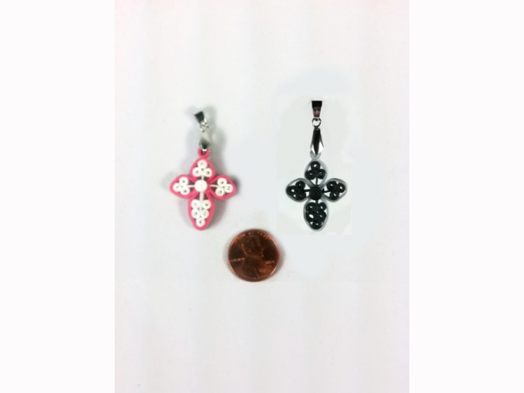 patriotic cross,  black and silver, pink and white, cross for women