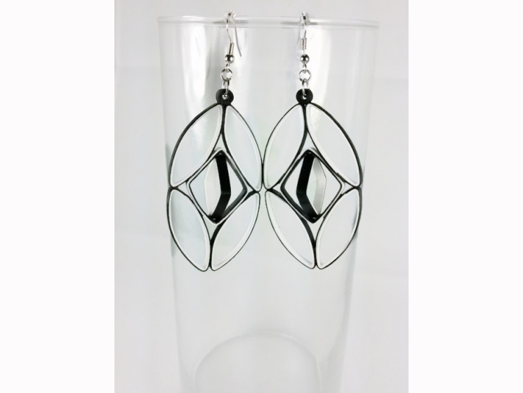 architectural earrings, black and white earrings, structured earrings