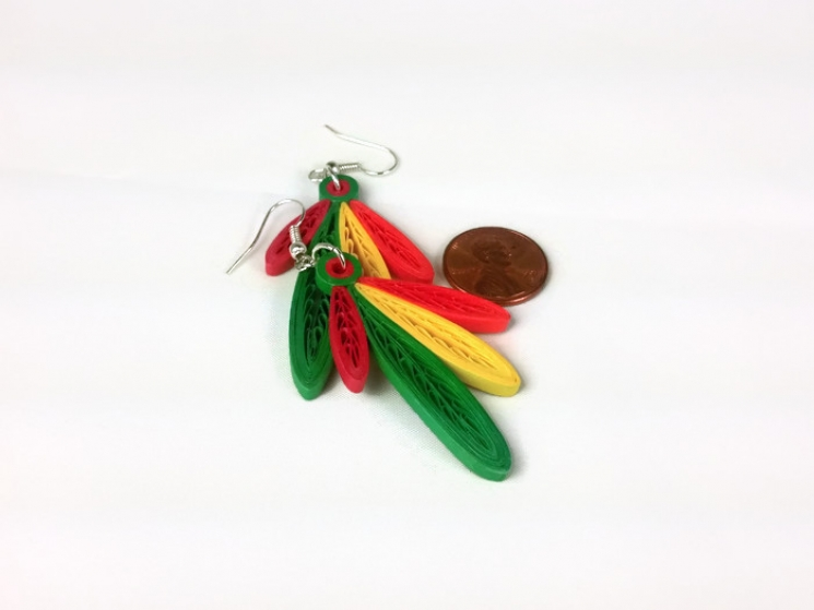 quilling feathers, Chicago fashion jewelry, Chicago earrings, Chicago style