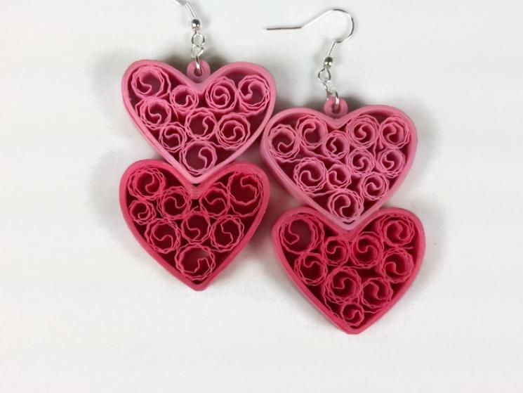 pink heart earring, pink heart necklace, large heart, big heart, handmade heart
