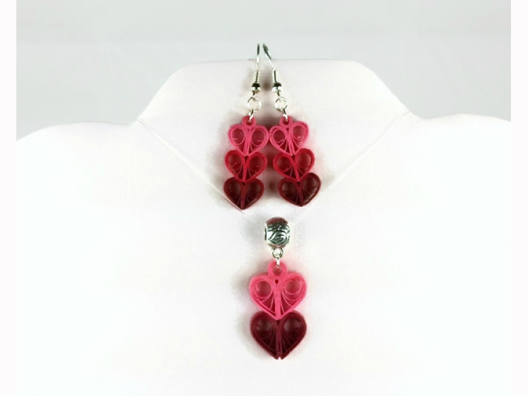 quilling earrings, paper quilled jewelry, quilling pendant, quilling necklace