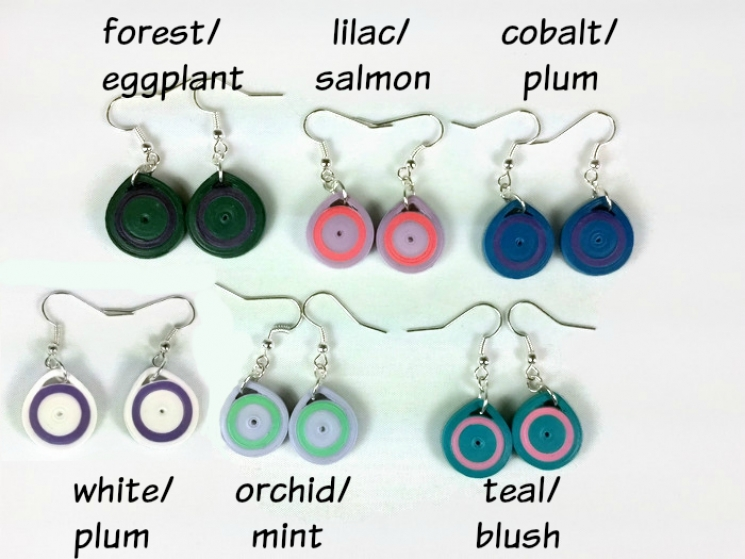 small earrings, eco friendly earrings, paper earrings for women, eco chic