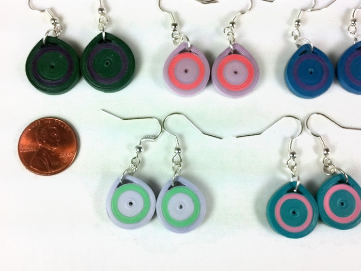 paper quilled earrings, quilling jewelry, simple earrings, minimalist jewelry