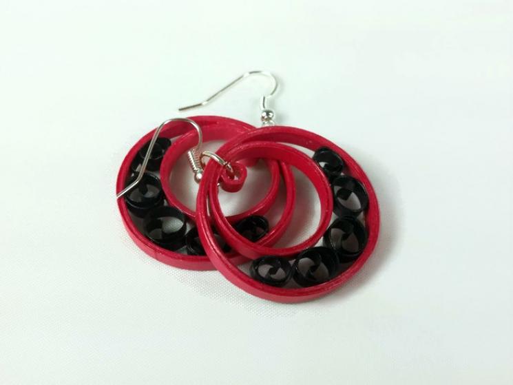 elegant hoop earrings, handmade hoop earrings, handmade paper earrings