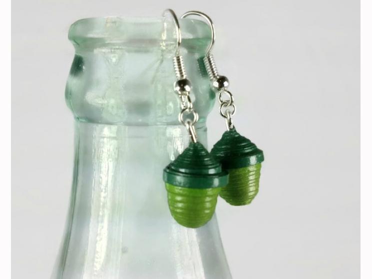 tiny acorn earrings, green acorns, paper quilling earrings, quilling acorns