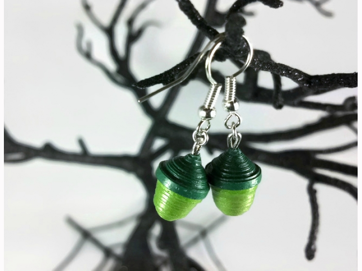 handmade earrings, paper jewelry, acorn jewelry, acorn jewellery, moss green
