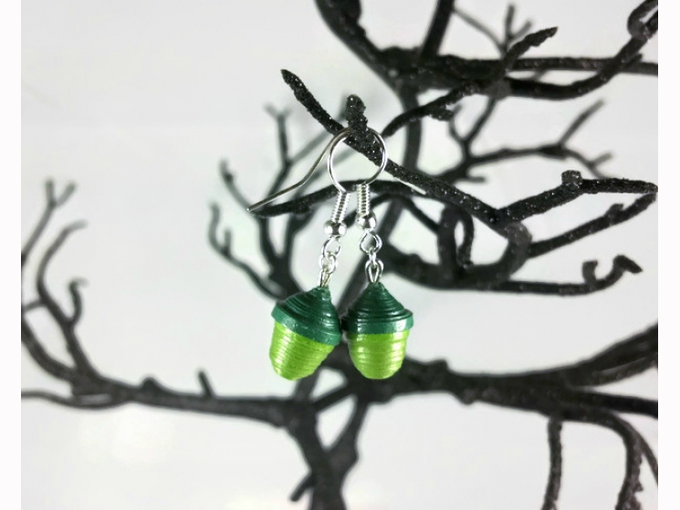colorful acorns, paper earrings, handmade acorns, handmade jewelry, sage green