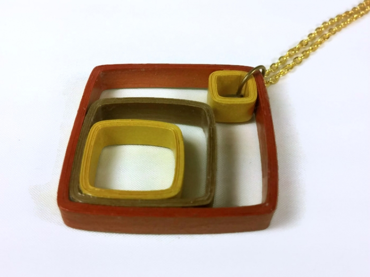 geometric necklace, mixed metal necklace, mixed metal jewelry, paper necklace