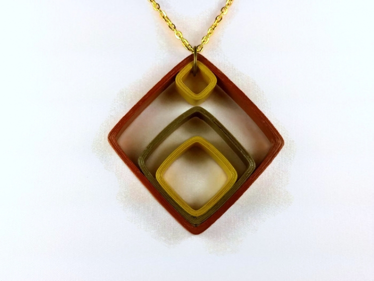 paper jewelry, art deco necklace, diamond shape necklace, square necklace