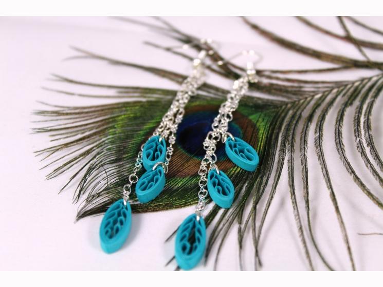 boho earrings, long fringe earrings, leaf earrings, silver chain jewelry, summer