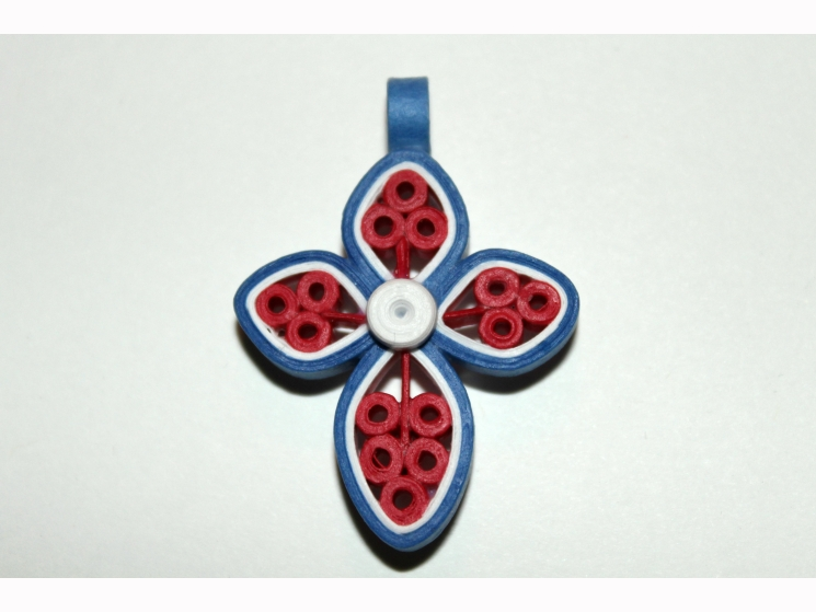 handmade cross pendant, paper quilled cross, cross necklace, quilling jewelry