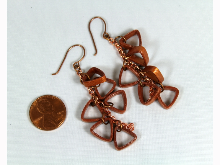 Copper Cluster Earrings Quilling Triangles Sweethearts
