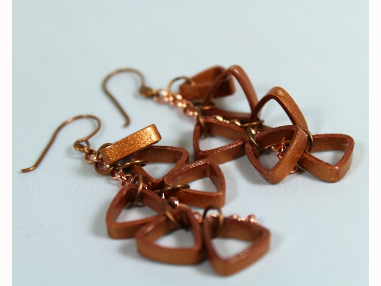 triangle earrings, copper triangles, triangle cluster, geometric earrings