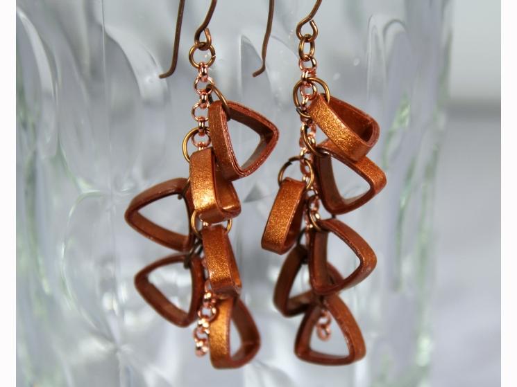 copper jewelry, paper quilling earrings, rose gold chain earrings, chain earring