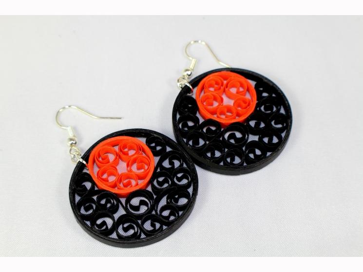 Halloween earrings, Halloween jewelry, black and orange earrings, black earrings