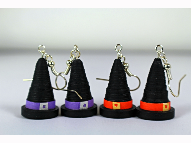 handmade witch hat earrings, black witch hats, green witch hats, handmade witch