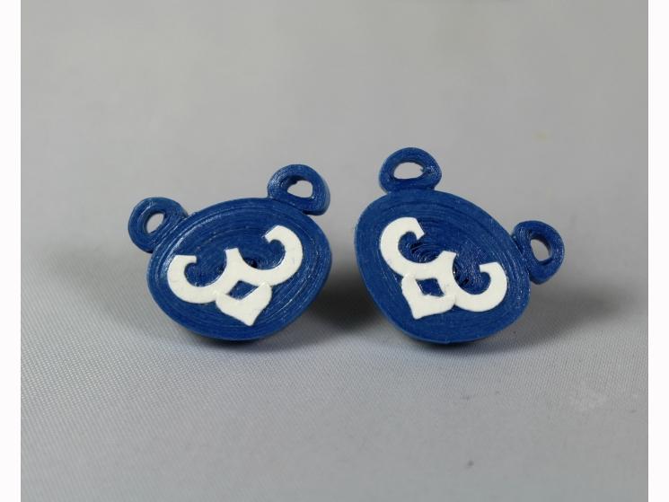 blue cub earrings, quilling cubs, paper quilling earrings, stud earrings