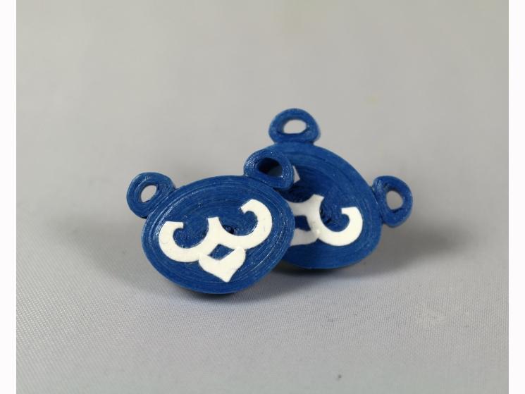 blue bears, bear earrings, cub bear earrings, bear cub earrings, cubs earrings