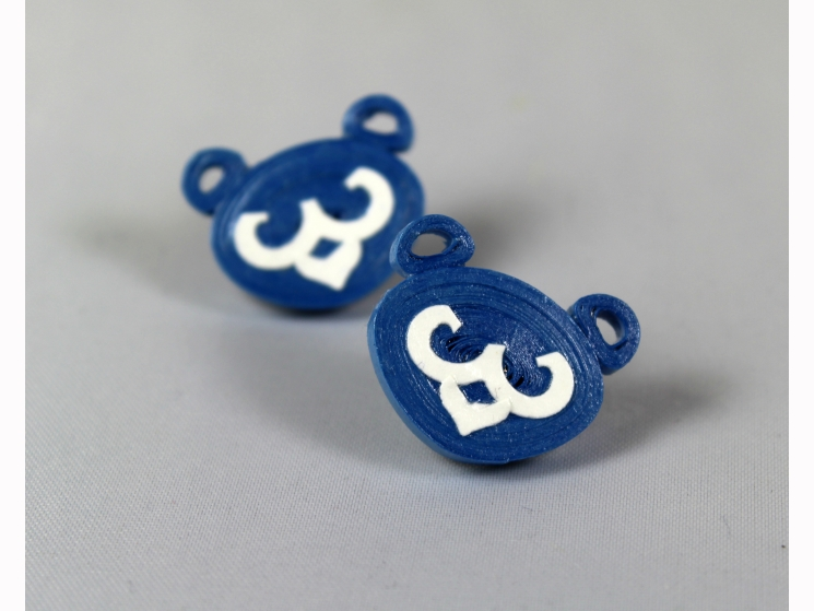 cub face, bear face, chicago jewelry, paper earrings, paper stud earrings