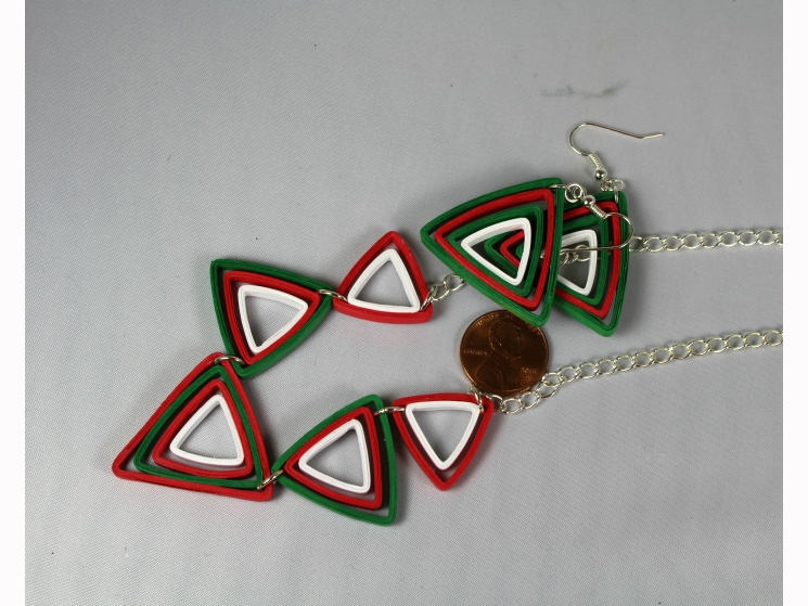 Modern Christmas Jewelry Set Paper Triangles Sweethearts