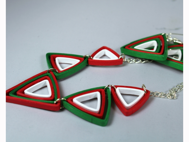 eco friendly gift, red and green jewelry, Christmas jewellery, art deco jewelry
