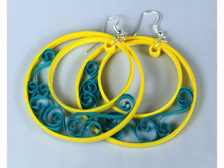 lightweight hoop earrings, paper quilled jewelry, paper quilling earrings
