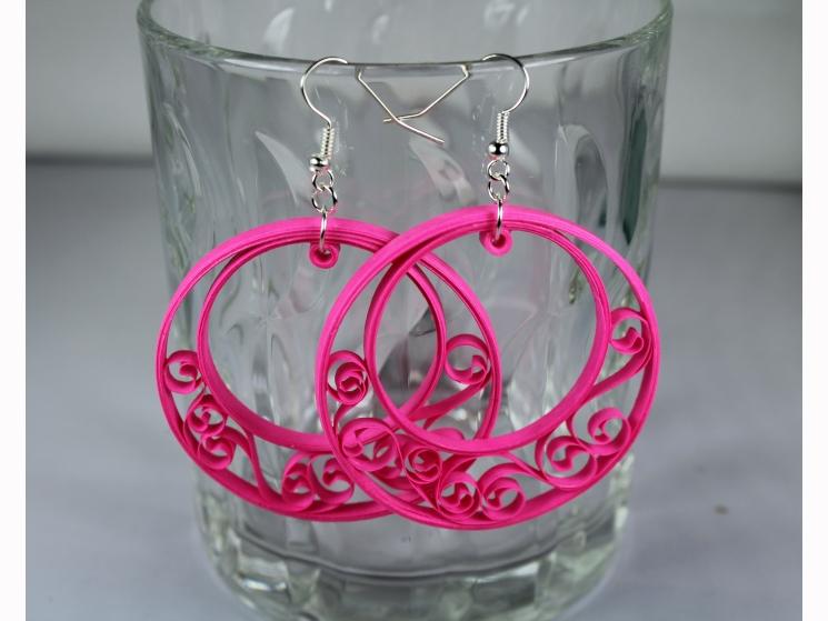paper quilled hoop earrings, half hoop earrings, large hoop earrings, boho chic