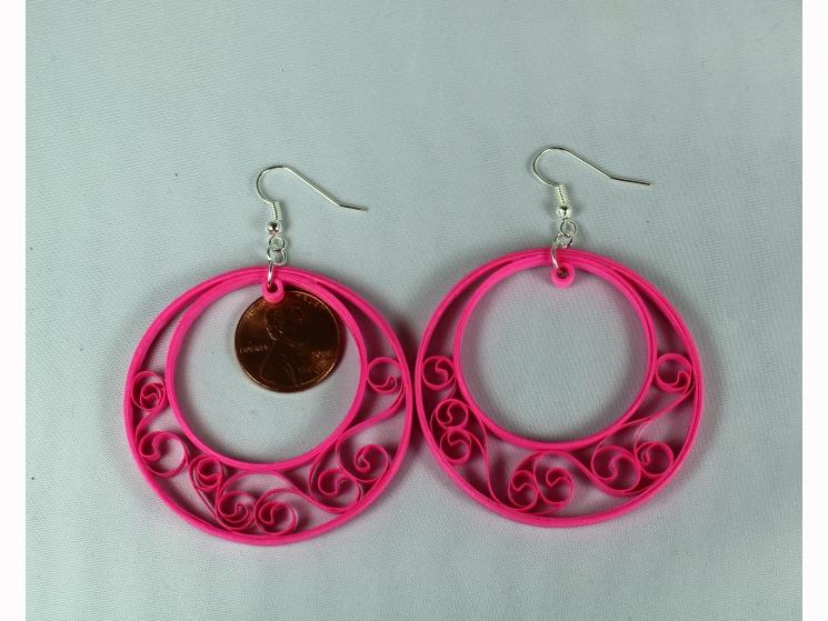 crescent hoop earrings, quilled hoops, handmade hoop earrings, filigree earrings