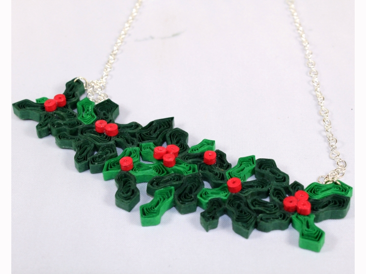 handmade Christmas necklace, holly and ivy necklace, Christmas necklace